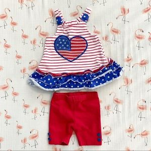 B1G2 Nannette Baby American Flag Outfit, 12M